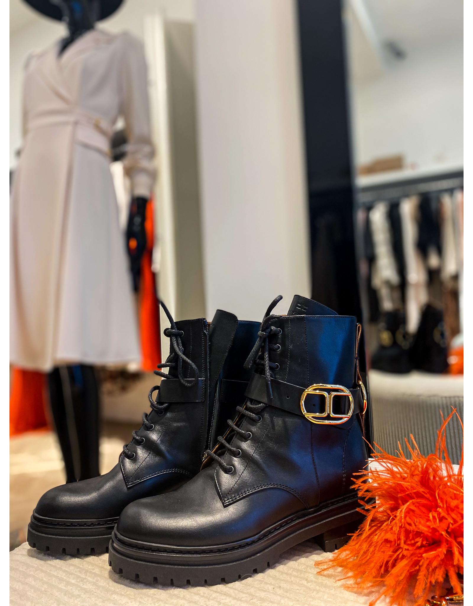 Boots E. Franchi zwart + gesp goud
