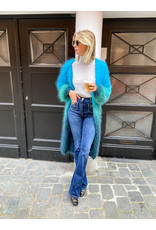Bellini Lange cardigan Bellini streep blauw/groen