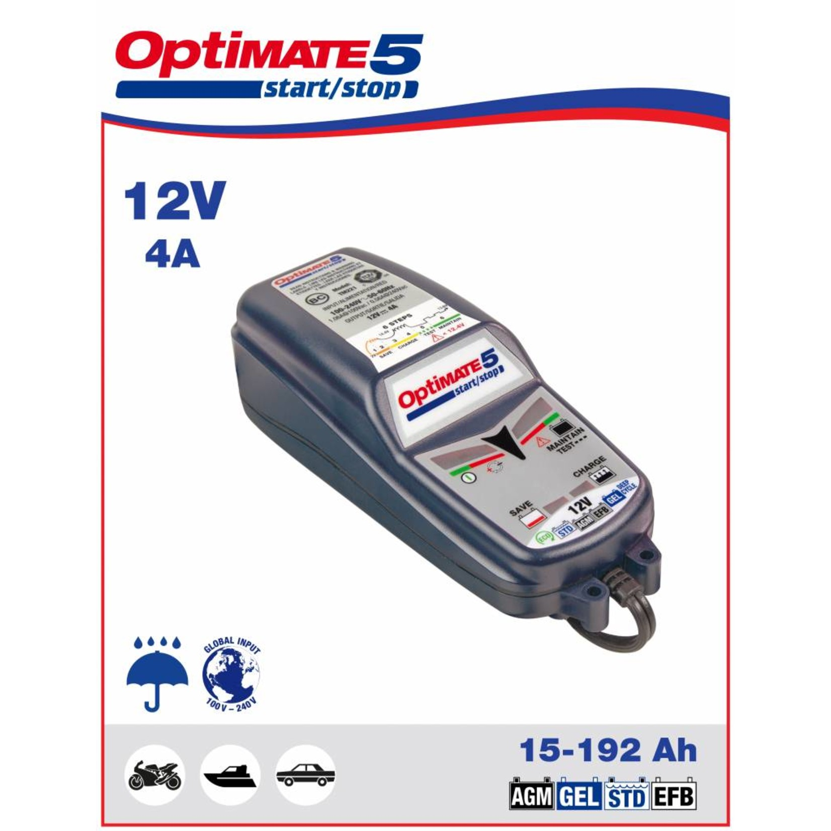 OptiMate OptiMate 5 - Battery Charger start/stop 12V