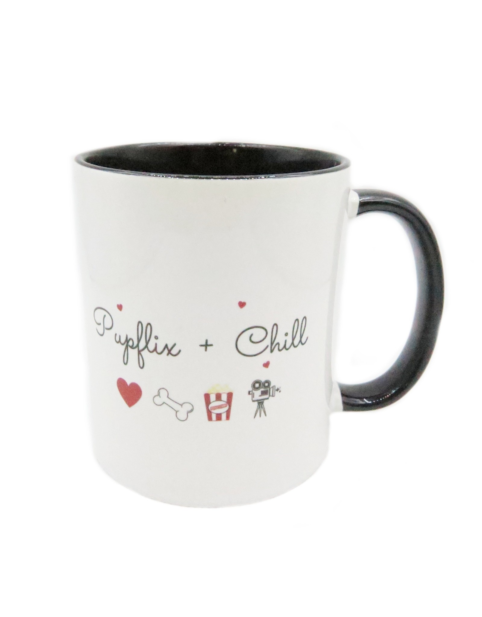 Pupflix & chill black mug