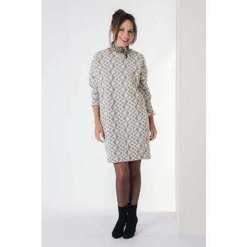 IVY LINN GOZO DRESS GREY / OFF-WHITE