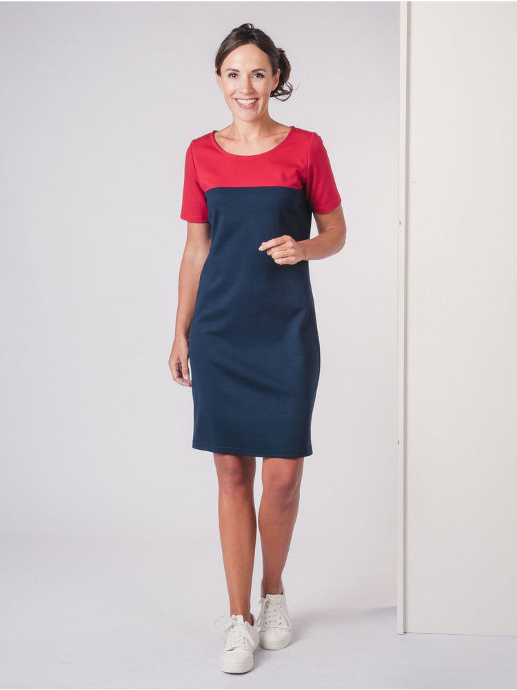 IVY LINN BONITA DRESS RED - DARK BLUE