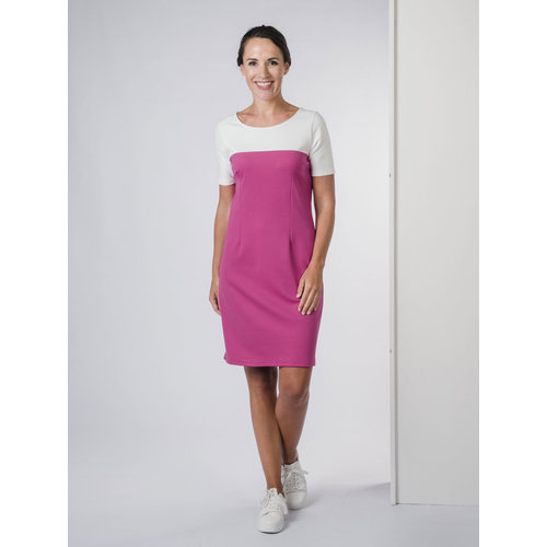 IVY LINN BONITA DRESS FUCHSIA - WHITE
