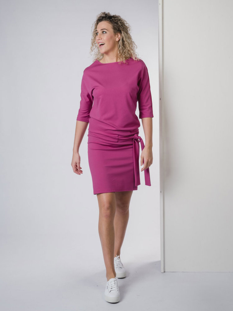 IVY LINN PIP DRESS FUCHSIA