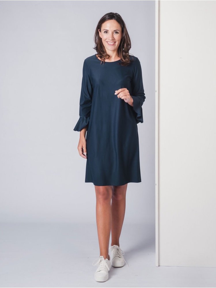 IVY LINN FELINE DRESS DARK BLUE