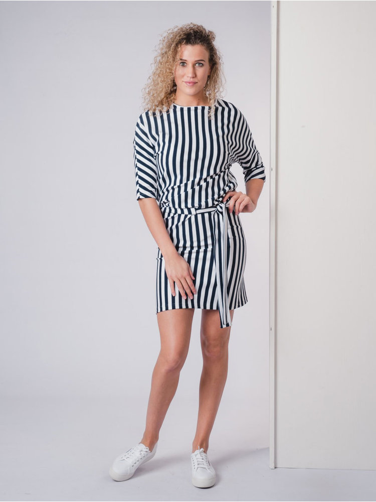 IVY LINN PIP DRESS STRIPE DARK BLUE