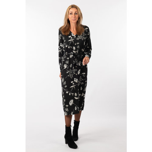 IVY LINN MADONNA DRESS FLOWER BLACK-GREY