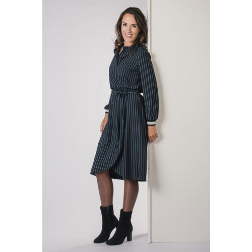 IVY LINN TEERSA DRESS STRIPE DARK BLUE