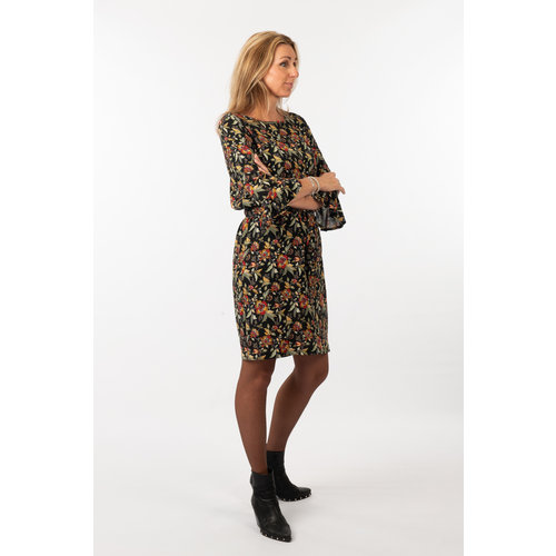 IVY LINN FELINE DRESS BLACK FLOWER
