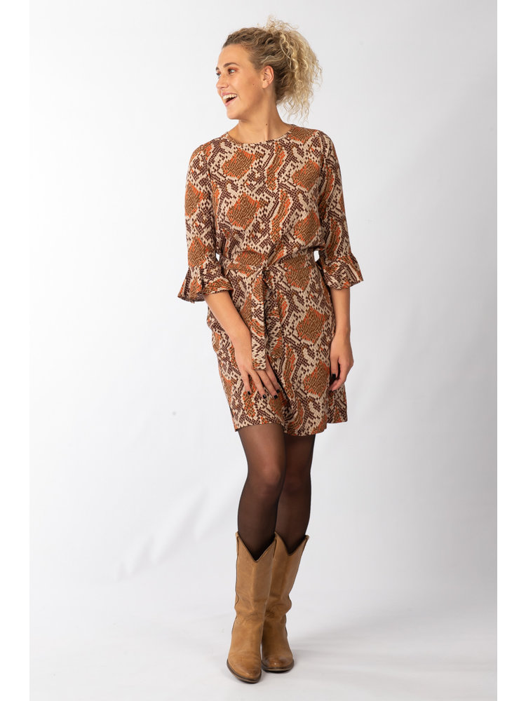 IVY LINN FELINE DRESS SNAKE ORANGE