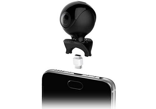 Qantik Astro 360 Mini 360 graden action camera voor Android smartphone (micro-USB en USB-C)