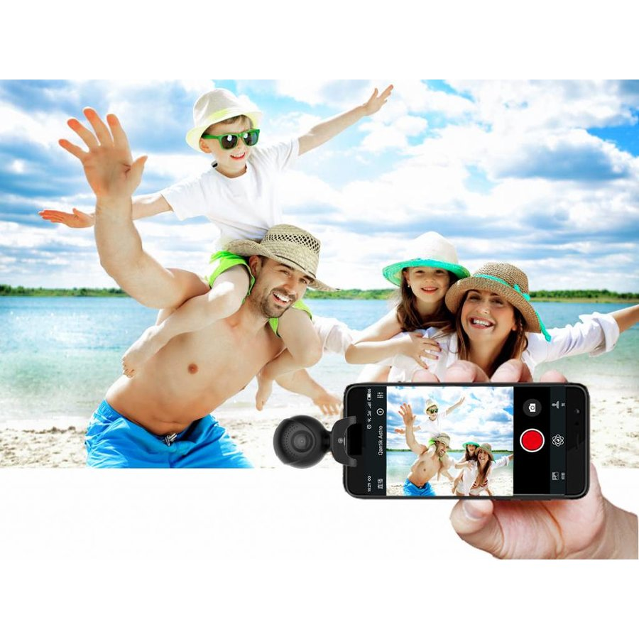 Qantik Astro 360 Mini 360 degrees action camera for Android smartphone (micro-USB & USB-C) with live streaming & 2 lenses-7