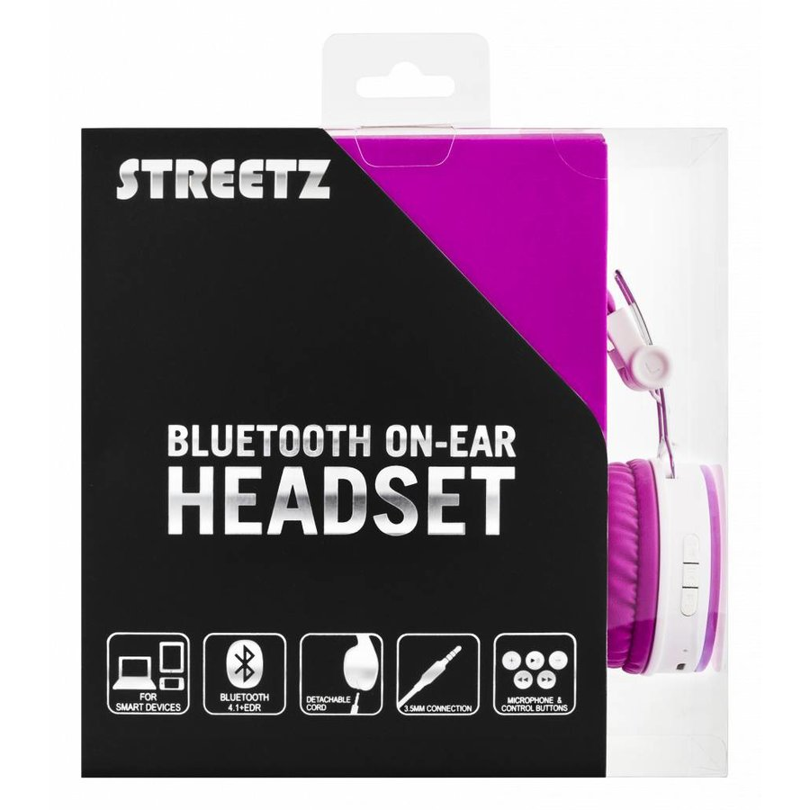 STREETZ Wireless foldable Bluetooth On-ear headset with microphone and up to 22 hours playback time, optional use with cable, in 5 colors and very comfortable to wear-10