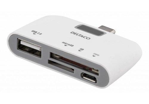 Deltaco UCR-158 USB-C cardreader USB 2.0 SD (SDXC) and  Micro-SD (SDXC) card reader