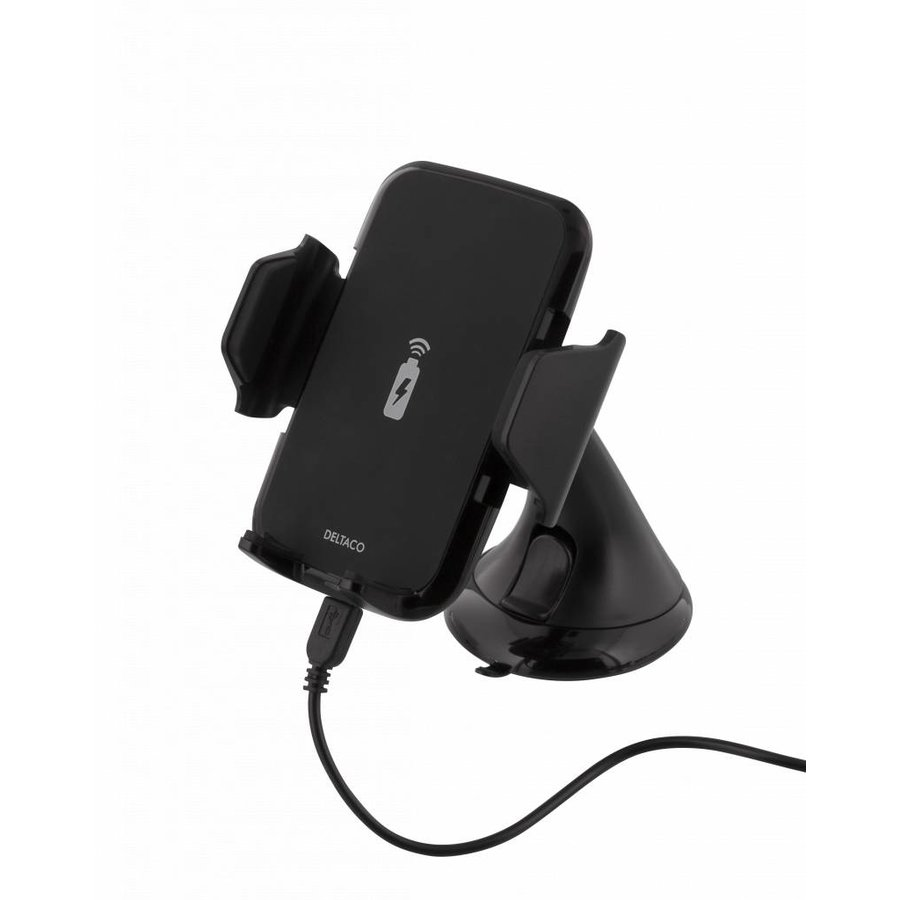 Deltaco QI-1018 Wireless Qi car charger universal smartphone carholder with wireless charging 5W 1A with suction cup, cable and 360 degrees rotation black-2