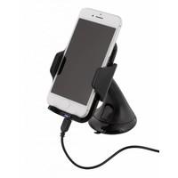 thumb-Deltaco QI-1018 Wireless Qi car charger universele smartphone autohouder met draadloos opladen 5W 1A met zuignap, kabel en 360 graden rotatie zwart-1