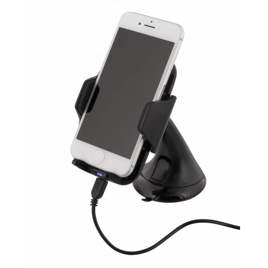 Deltaco QI-1018 Wireless Qi car charger universele smartphone autohouder met draadloos opladen 5W 1A met zuignap, kabel en 360 graden rotatie zwart-1