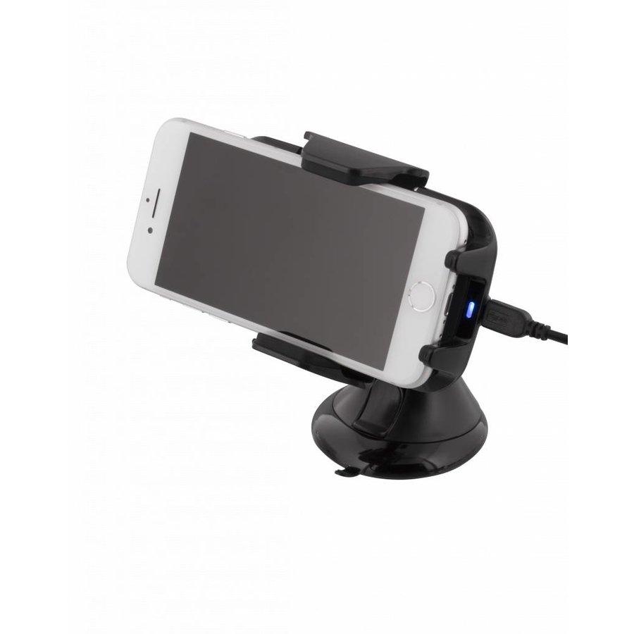 Deltaco QI-1018 Wireless Qi car charger universele smartphone autohouder met draadloos opladen 5W 1A met zuignap, kabel en 360 graden rotatie zwart-3