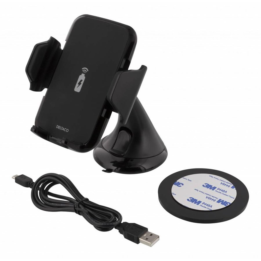 Deltaco QI-1018 Wireless Qi car charger universele smartphone autohouder met draadloos opladen 5W 1A met zuignap, kabel en 360 graden rotatie zwart-5
