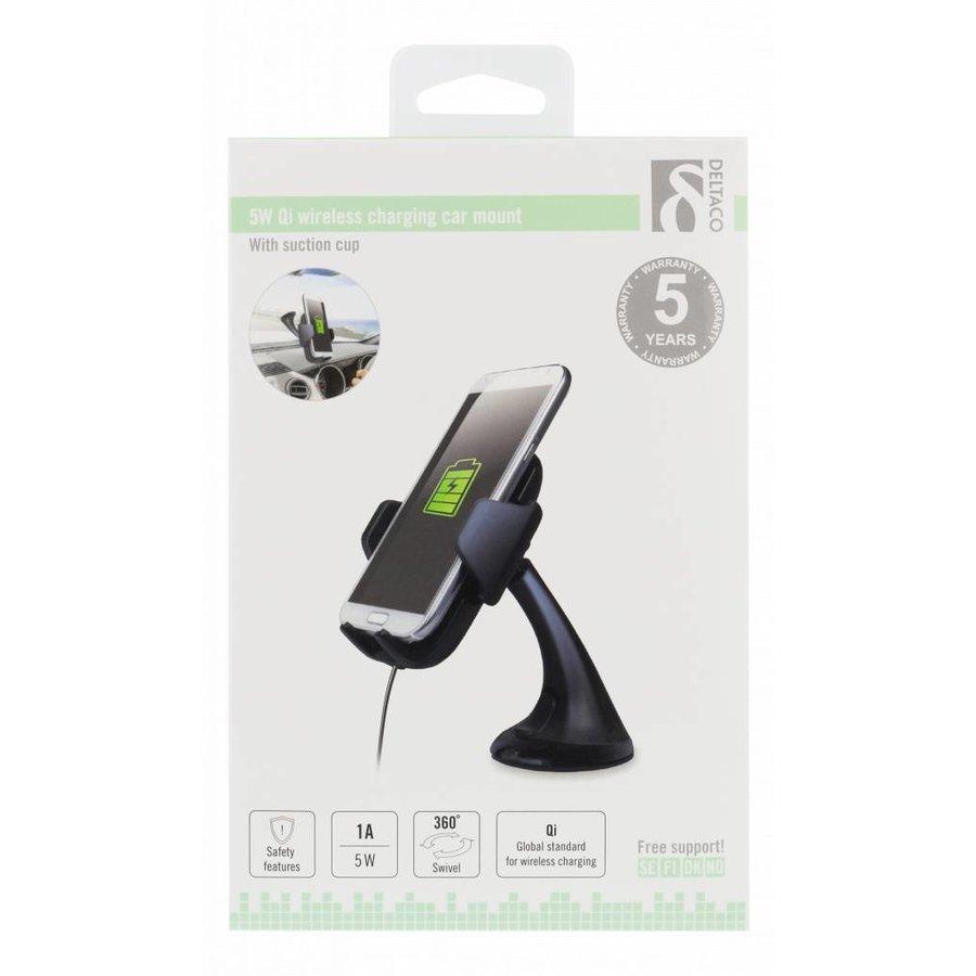 Deltaco QI-1018 Wireless Qi car charger universele smartphone autohouder met draadloos opladen 5W 1A met zuignap, kabel en 360 graden rotatie zwart-6