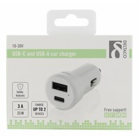 thumb-Deltaco USB-C Car charger with 1 x USB and 1 x USB-C 3A max. 15W - Black or white-7