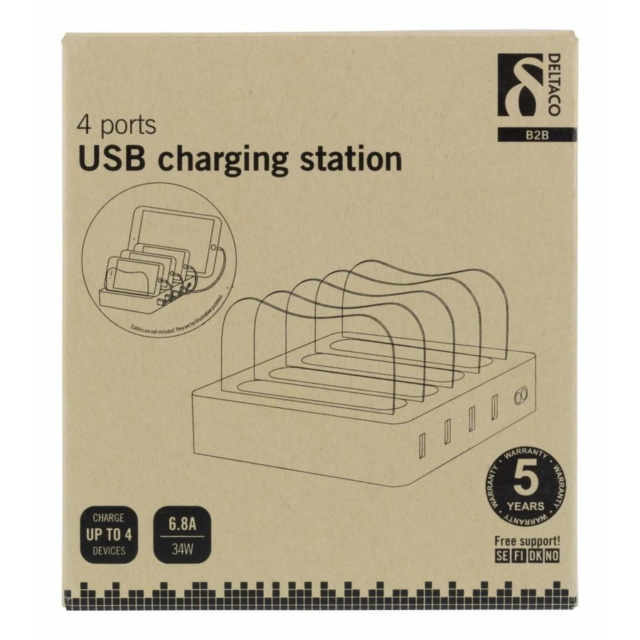 DELTACO USB-AC155, USB Charging station, 4x USB-A ports, 5V DC, 6.8A, 34W, 1.5m cable, white-5