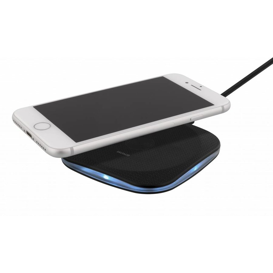 Deltaco Wireless charging pad (Qi) Draadloze oplader wit voor o.a. iPhone X, 8, Galaxy S8, Galaxy S7-7