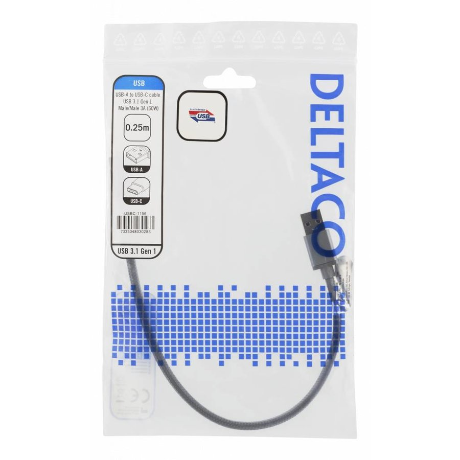 Deltaco USB to USB-C braided cable 3A 60W USB 3.1 Gen. 1 space grey in several lenghts-3