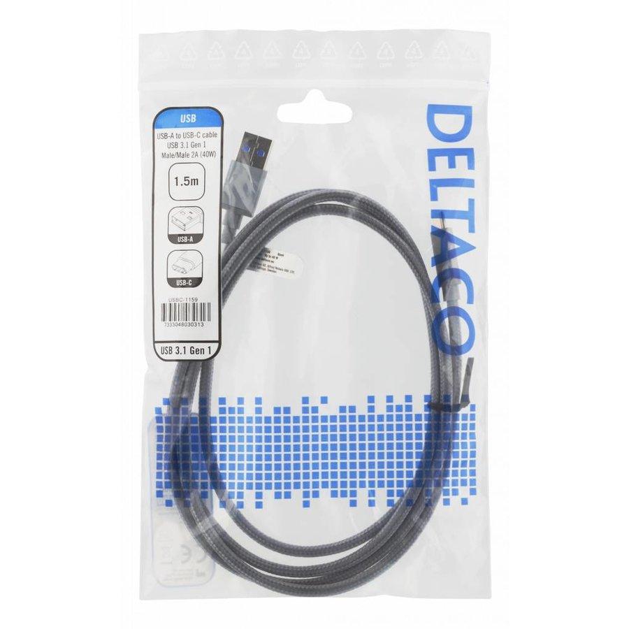 Deltaco USB naar USB-C kabel gevlochten 3A 60W USB 3.1 Gen. 1 space grijs in verschillende lengtes-5