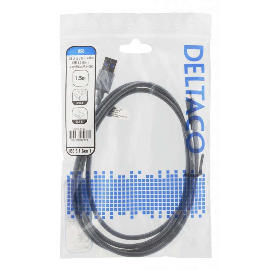 Deltaco USB to USB-C braided cable 3A 60W USB 3.1 Gen. 1 space grey in several lenghts-5