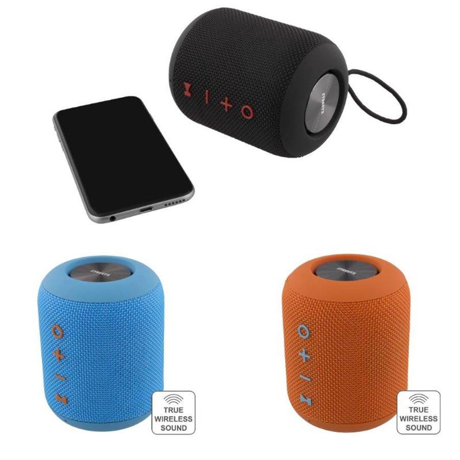 STREETZ  Water resistant stereo Bluetooth-luidspreker 2x5W, IPX5, TWS in black, blue and orange-2