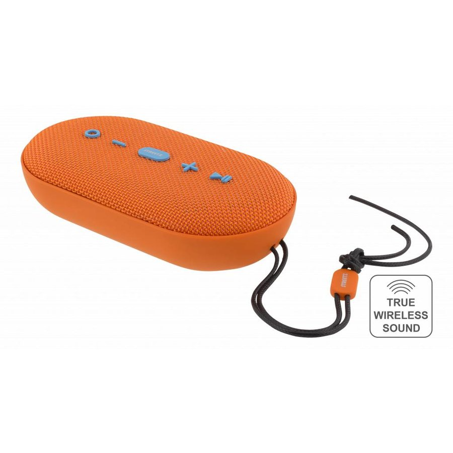 STREETZ  Water resistant flat stereo Bluetooth-speaker 2x5W, IPX5, Micro-SD, TWS in black, blue and orange-4