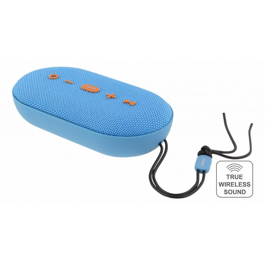 STREETZ  Water resistant flat stereo Bluetooth-speaker 2x5W, IPX5, Micro-SD, TWS in black, blue and orange-6