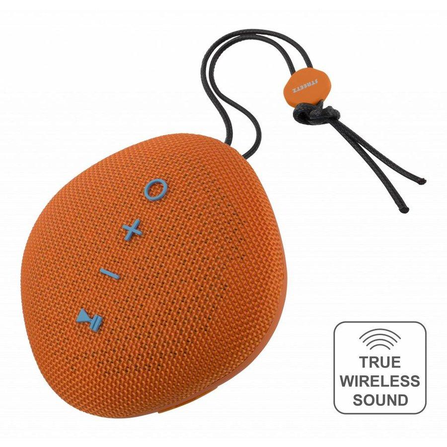 STREETZ  Water resistant flat Bluetooth-speaker 6W, IPX5, Micro-SD slot, TWS in black, blue and orange-4