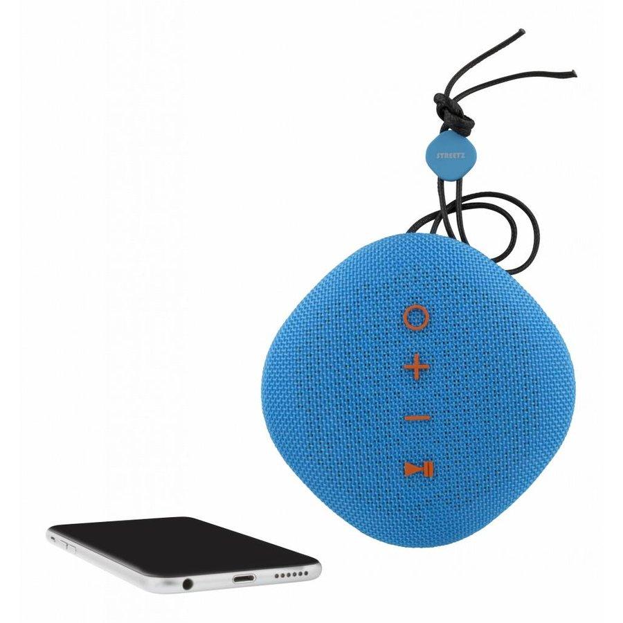 STREETZ  Water resistant flat Bluetooth-speaker 6W, IPX5, Micro-SD slot, TWS in black, blue and orange-8