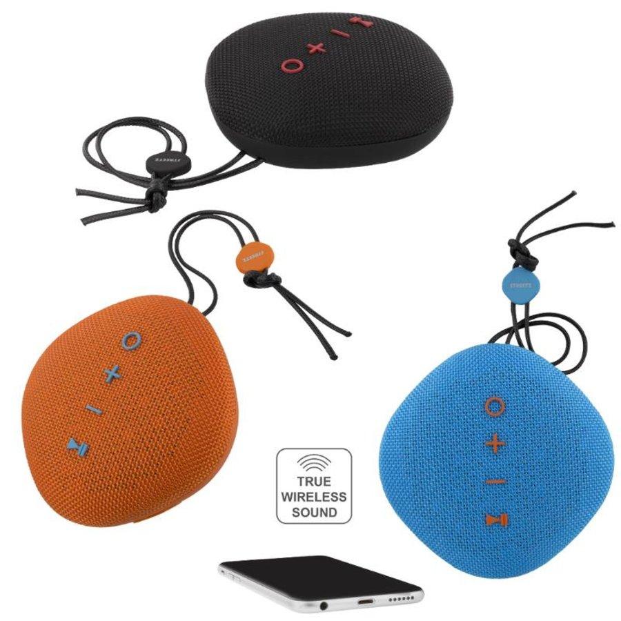 STREETZ  Water resistant flat Bluetooth-speaker 6W, IPX5, Micro-SD slot, TWS in black, blue and orange-2