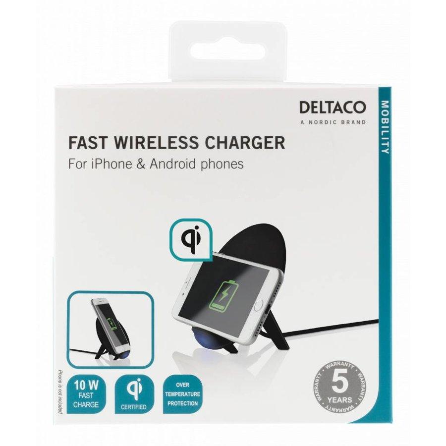 Deltaco Wireless charging pad (Qi) Draadloze oplader 10W in wit en zwart voor o.a. iPhone X, iPhone 8, Galaxy S9, Galaxy S8, Galaxy S7-9