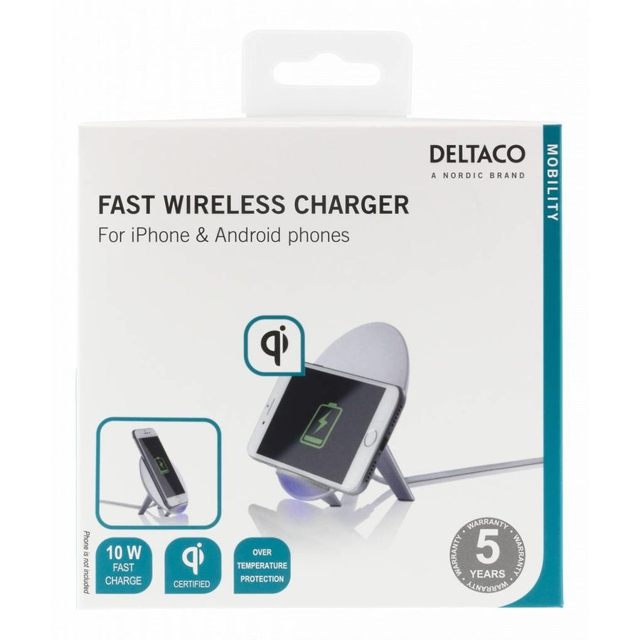 Deltaco Wireless charging pad (Qi) Draadloze oplader 10W in wit en zwart voor o.a. iPhone X, iPhone 8, Galaxy S9, Galaxy S8, Galaxy S7-10