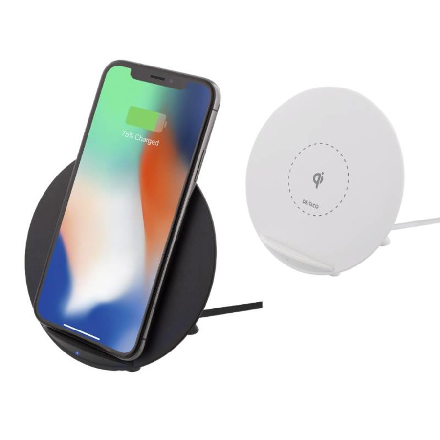 Deltaco Wireless charging pad (Qi) Draadloze oplader 10W in wit en zwart voor o.a. iPhone X, iPhone 8, Galaxy S9, Galaxy S8, Galaxy S7-2