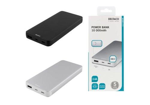 DELTACO Powerbank, Externe accu 10000 mAh met USB-C poort en USB poort voor maximaal 2 apparaten