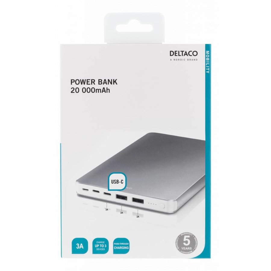 DELTACO Powerbank, External battery 20000 mAh with USB-C port 3A and 2 USB ports 2A for charging up to 3 devices simultaneously, Micro-USB and Apple Lightning input, suitable for charging laptop or Macbook via USB-C aluminum housing in black and silver-6