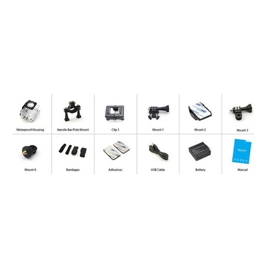 """Action camera A10 720p with 1.5 """" display 30m under water incl. 12 accessories-3"""