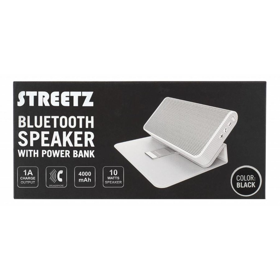 STREETZ Draadloze Bluetooth stereo speaker 10W met 4000 mAh powerbank en 3.5 mm mini-jack AUX in stijlvol hoesje/standaard met magneetsluiting zwart of wit-7