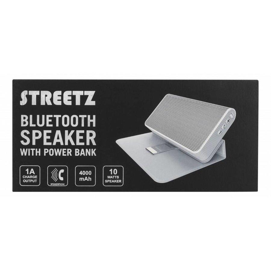 STREETZ Draadloze Bluetooth stereo speaker 10W met 4000 mAh powerbank en 3.5 mm mini-jack AUX in stijlvol hoesje/standaard met magneetsluiting zwart of wit-8