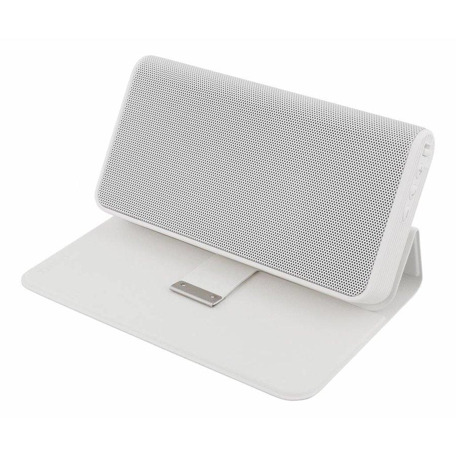 STREETZ Draadloze Bluetooth stereo speaker 10W met 4000 mAh powerbank en 3.5 mm mini-jack AUX in stijlvol hoesje/standaard met magneetsluiting zwart of wit-3