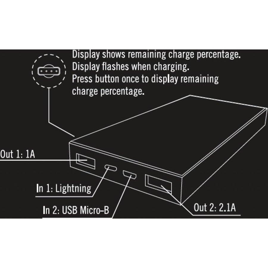 STREETZ PB-817 10.000 mAh Powerbank met 2 x USB uitgang en Micro-USB en Apple Lightning ingang wit-3