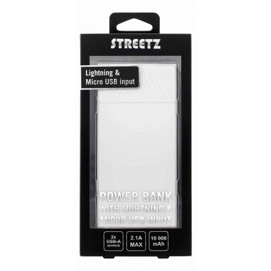 STREETZ PB-817 10.000 mAh Powerbank met 2 x USB uitgang en Micro-USB en Apple Lightning ingang wit-4
