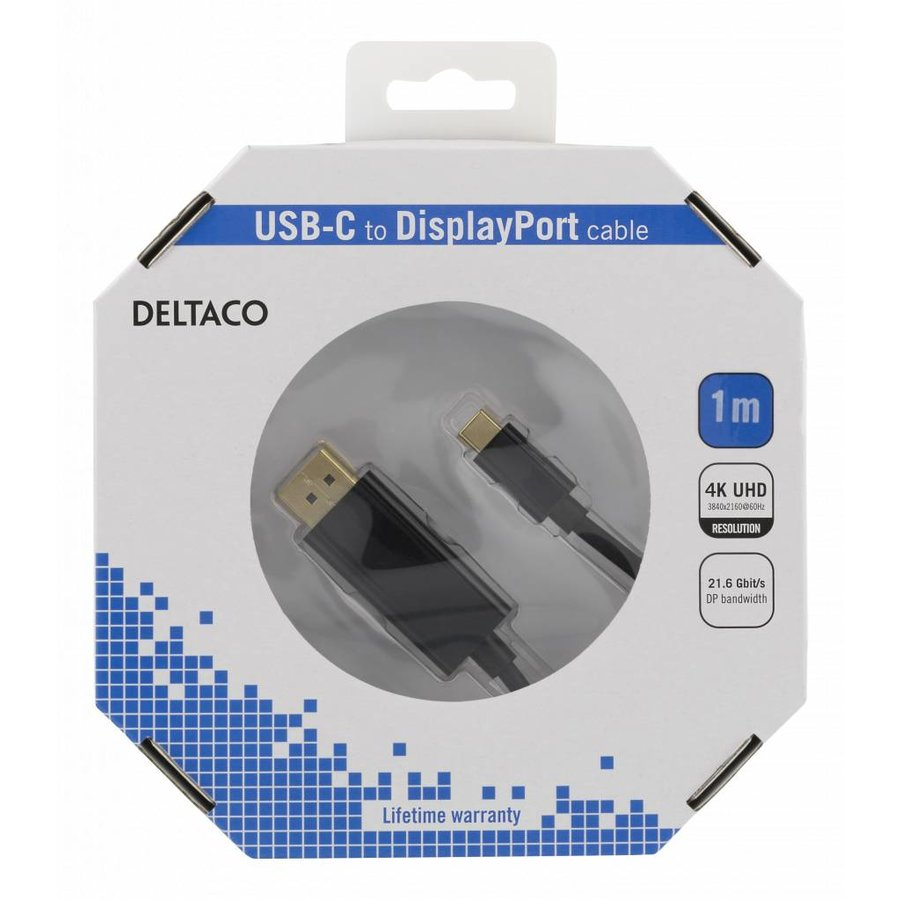 Deltaco USB-C to DisplayPort cable in different lengths 4K UHD, HDCP, 3D black or white-1