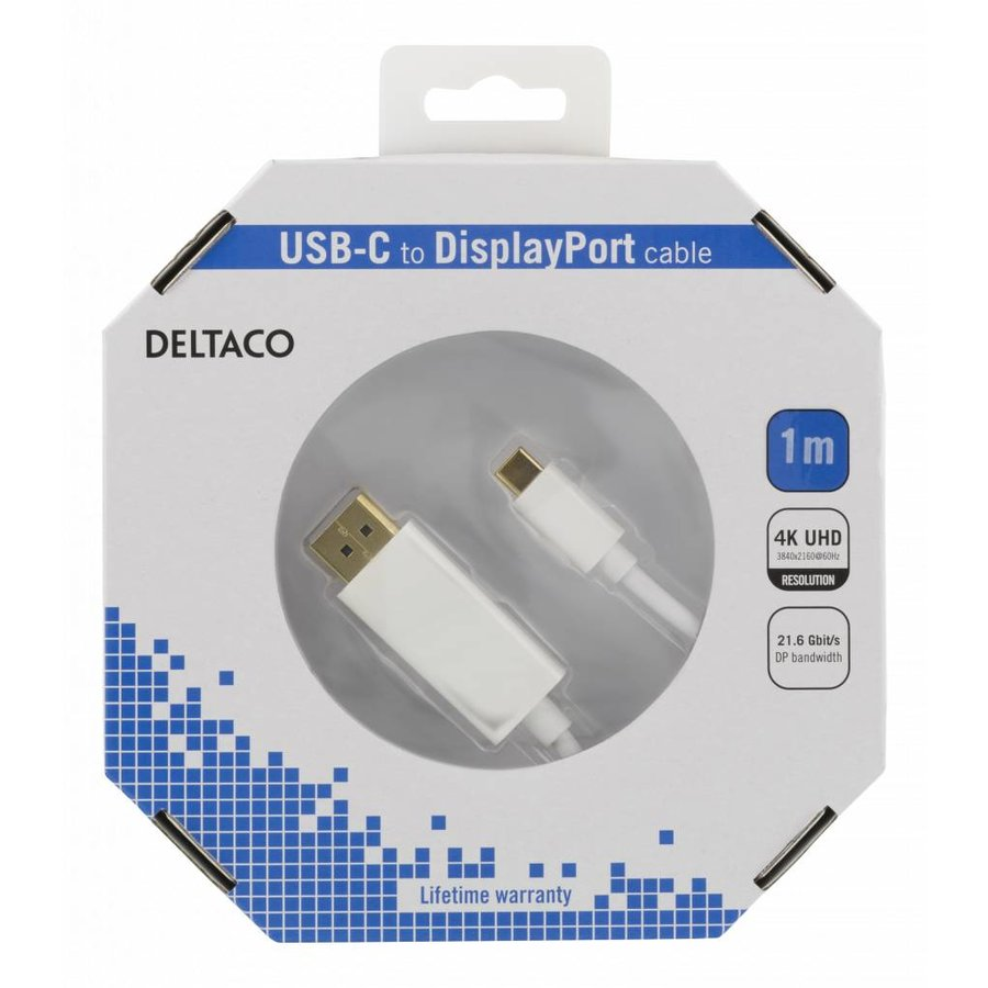 Deltaco USB-C to DisplayPort cable in different lengths 4K UHD, HDCP, 3D black or white-5