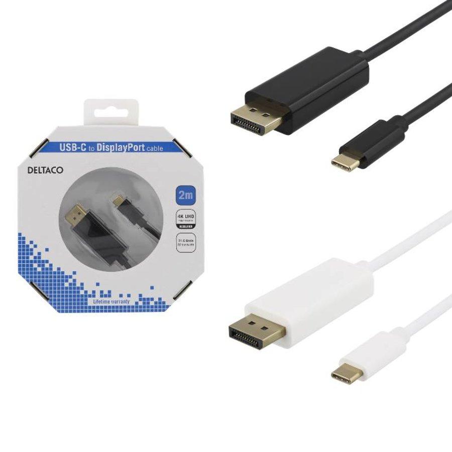 Deltaco USB-C naar DisplayPort kabel in verschillende lengtes 4K UHD, HDCP, 3D zwart of wit-2